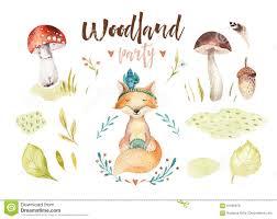 watercolor forest animal children illustration stock illustration