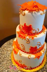 wedding cake harvest wedding cake 3 tier orange fall leaves maple pixy cakes