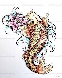 colorful japanese koi fish with lotus tattoo design koi fish