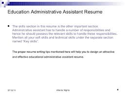 Administrative Assistant Key Skills For Resume Education Administrative Assistant Resume 4