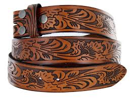 western embossed black brown leather belt strap w snaps for