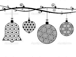 christmas decorations clipart borders black and white collection