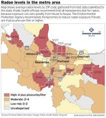 Maps Portland by New Radon Numbers Highlight Portland Area Health Risks