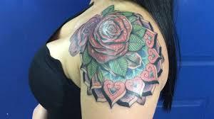 mandala tattoo on shoulder tattoo bam bam miami shoulder rose color mandala tattoo youtube