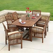 7 Pc Patio Dining Set Amazon Com We Furniture Solid Acacia Wood 7 Piece Patio Dining