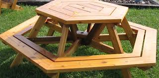 Free Hexagon Picnic Table Plans by Peacock Woodcraft Hexagon Picnic Table