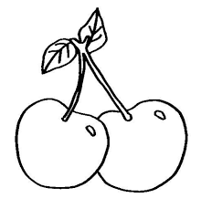 small cherry fruit sweet fruits coloring pages pinterest