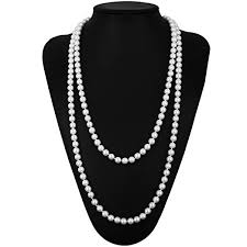 pearl size necklace images Qnprt 1920s gatsby necklace faux ivory pearl cream jpg