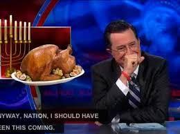 stephen colbert talks hanukkah falling on same day as thanksgiving