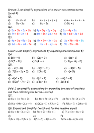 expand brackets and simplify expressions differentiated worksheet