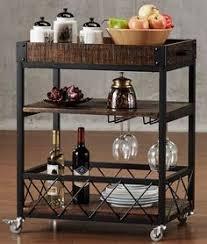 industrial wine bar cart rolling table rustic wood rack metal on
