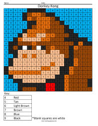 donkey kong color by number coloring squared