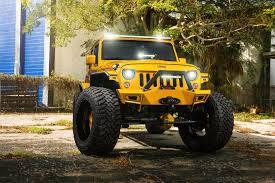 jeep custom wheels jeep wrangler hydrasports custom track yellow amani forged wheels