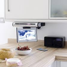 kitchen television ideas http buycleverstuff co uk 10 white flipdown kitchen tv with