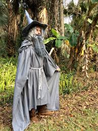 costume wizard robe gandalf the gray or white costume flowing hooded cape and robe