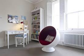 Modern Ball Chair Furniture White Living Room With Bookcase And Futuristic Ball