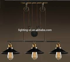 artistic pendant light with 3 lights in pulley block design morden