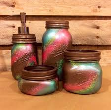 office mason jar set bronze coral and teal desk set rustic