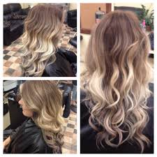 coloring over ombre hair took her from an all over blonde to a pretty warm brown and blonde
