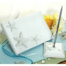 wedding guest book set collection starfish wedding guest book and pen
