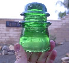 mclaughlin insulator no 16 depression glass green antique