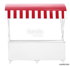 Red And White Striped Awning White Market Stall With Red Striped Awning