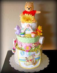 disney winnie the pooh diaper cake pink baby 3 tier diaper