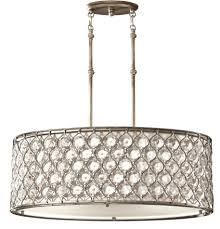 Drum Light Fixture by Feiss Lucia 3 Light Burnished Silver Oval Drum Crystal Pendant Fe