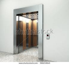 Marble Interior Walls Realistic Empty Elevator Hall Interior Waiting Stock Illustration