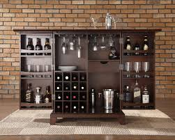 kitchen island espresso color brick wall with wine rack and wet