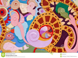 a colourful abstract painting on wall stock photo image 63555294