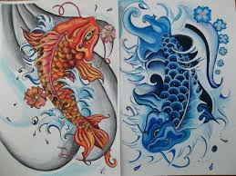 koi fish yin yang on back photos pictures and sketches