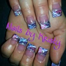 pink and white curved c cut acrylic hand painted nail art leopard