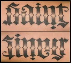 saint u0026 sinner ambigram lettering tattoo by southside tattoo