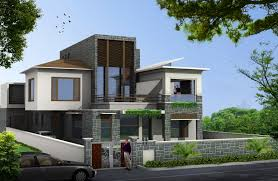 unique exterior house design with natural stone wall decoration