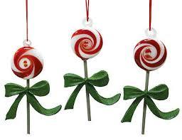peppermint swirl glass lollipop ornament set of 3
