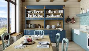 farmhouse kitchen remodeling ideas with long wooden table and navy