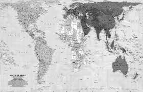 Map Of The World Black And White by Peters Map Media