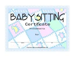 certificate for baby sitting u2013 best wishes for baby sitting