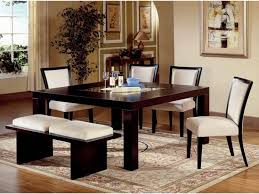 black dining table with bench black glossy wooden dining table with white seat armless chairs