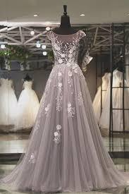 light gray long dress light gray tulle backless long prom dress long lace appliqués