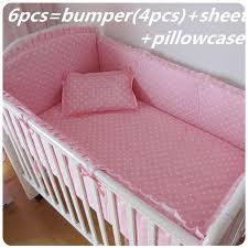 Cheap Baby Beds Cribs Promotion 6 7pcs Pink Baby Bedding Sets For Baby Crib