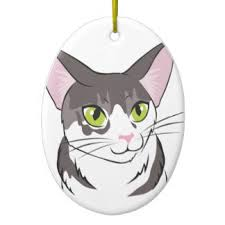 grey and white cat ornaments keepsake ornaments zazzle