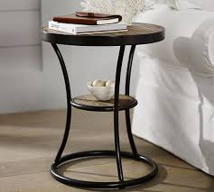 round wood and metal side table bartlett reclaimed wood metal side table pottery barn