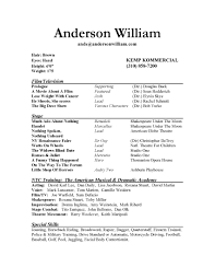 Actors Resume Template Resume Sle No Experience Resume Cv Cover Letter No Work