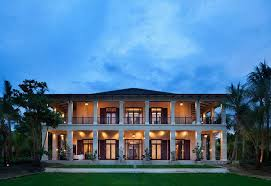 modern two storey plantation front porch house lighting