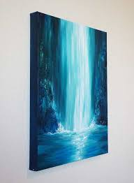 blue and white painting large painting ideas best 25 waterfall paintings ideas on pinterest