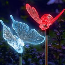 Patio Solar Lighting Ideas by Garden Solar Lights Color Changing Butterfly U0026 Bumble Bee Stake