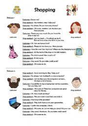 esl worksheets for beginners shopping dialogues