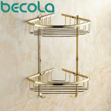 Wall Mounted Bathroom Accessories Sets by Gold Plated Brass Bathroom Shower Basket Holder Wall Mounted